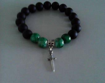 Black Onyx men bracelet, turquoise green, sword