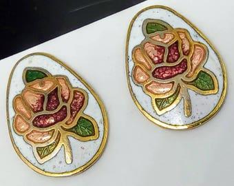 1980s Vintage flower earrings, cloisonne earrings, vintage earrings, flower stud earrings, 1980s cloisonn flower earrings, enamel earrings