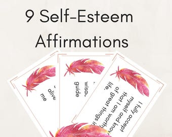 9 Self-Esteem Affirmation Cards | Printable Inspirational Cards - Affirmation Cards - Gratitude Journal - Inspirational Print