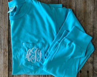 Monogrammed Initials - Long Sleeve Shirt with Pocket