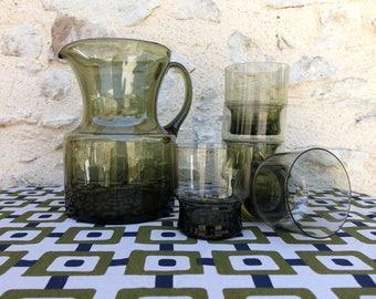 Service orangeade vintage - glass - decanter and glasses color green khaki - original gift