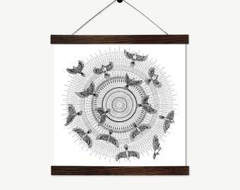 Into the Light // black and white print // nature illustration print // nature art // birds illustration // fine art print // wall art decor