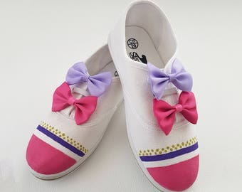 Hand Painted and Decorated Children's Sneakers with Bow tie and Ribbons, Kids Shoes, Casual, Canvas, Custom, Birthday Party, Gift for Friend