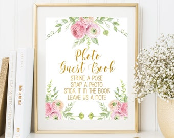 Photo Guest Book Sign Floral Wedding PhotoGuest Book Photo Guest Book Printable Gold Wedding Sign Wedding Guest Book Guest Book Alternative