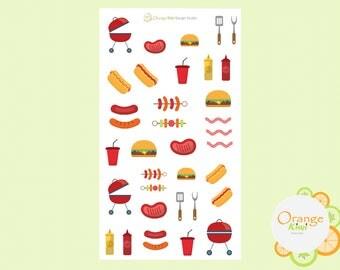 BBQ Planner Stickers, Summer Planner Set, Summer BBQ Stickers