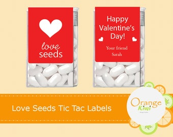 Love Seeds Tic Tac Labels, Happy Valentine's Day Tic Tac Stickers, Valentine's Day Stickers, Tic Tac Labels