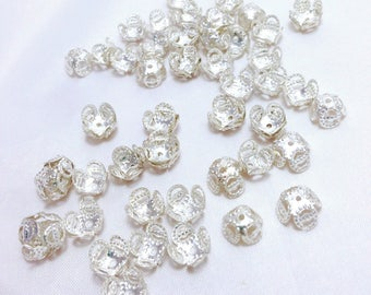 60 cups, caps, Beanies for Pearl, filigree silver metal - 8 x 5 mm