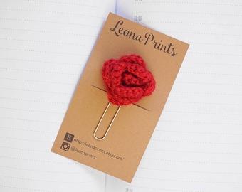 Crochet Rose Planner Clip / Bookmark - Dark Red   Stationery for Erin Condren, Filofax, Kikki K