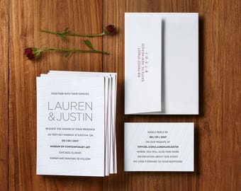 Contemporary Grid - Custom Letterpress Wedding Invitations Stationery Suite, Deposit Only
