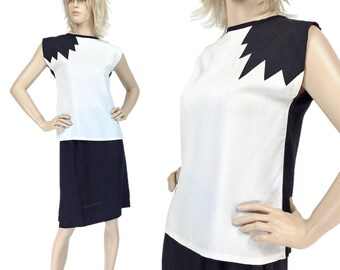 Vintage Clothing, Skirt Set XS S, 80s Outfit, New Wave, Color Block Suit, Black and White, Sleeveless Top, Wear to Work, SIZE XS S 2 4