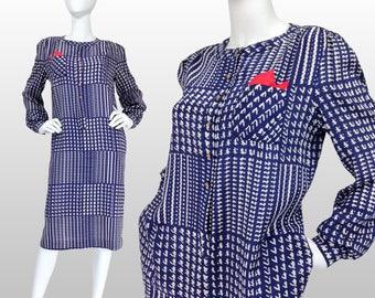 Vintage Clothing, 80s Shirt Dress M L, Check Dress, Navy Blue Dress, Houndstooth Dress, Navy Blue Check Midi Dress, Wear To Work, SIZE M L