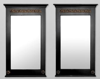 Pair Empire Style Ebonized Pier Mirrors With Brass Mounts [6385]