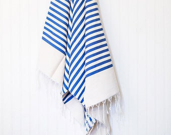 Beautiful Moroccan Blue White Stripe Towel