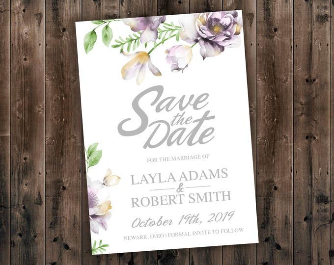 Floral Wedding Save the Date Printed - Wedding Save the Date, Affordable, Vintage, Floral, Country, Water Color, Flowers, Cheap, Summer