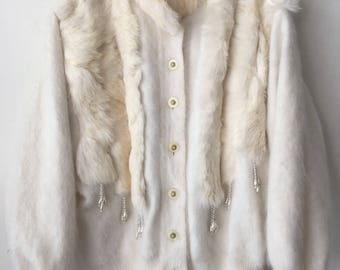Really warm pullover from real cashmere&rabbit fur soft fur vintage style modern pullover stylish pullover casual women's white size-medium.