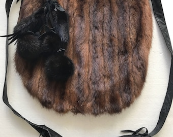 Magnificent bag from real leather&mink fur decorated with furs bubo new collection designer handmade bag women's brown bag has size-medium.