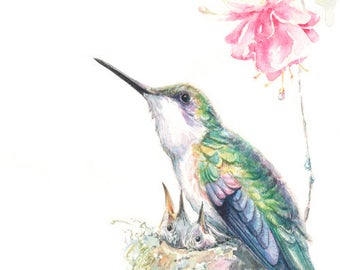 Guardian - hummingbird watercolor original giclee print