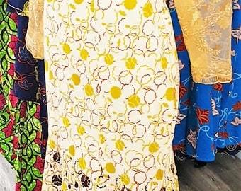 Ankara and Lace Sheath Dress