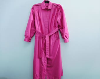 Vintage 1980's Windsor Bay Hot Pink Lined Long Lined Trench Coat Size 10 Very Good Condition