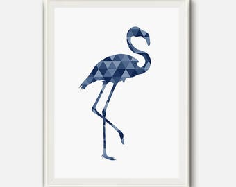 Flamingo Print, Geometric Flamingo, Blue Print, Navy Wall art, Triangle Modern Art, printable poster, Geometric animal, flamingo nursery Art