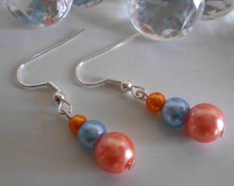 Wedding trend earrings blue and orange coral