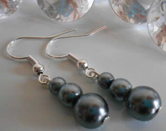 Trio of charcoal grey Pearl wedding earrings