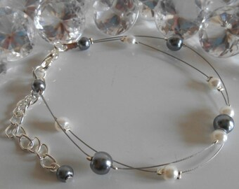 Bracelet wedding 2 row white and charcoal gray pearls