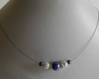 Wedding necklace purple and white pearls and rhinestones