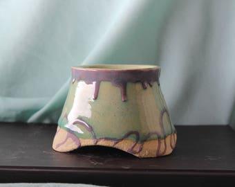 Handmade Ceramic Bowl with Drip Pattern