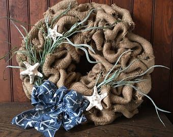 Repurposed Burlap Coffee Bag Wreath- Nautical