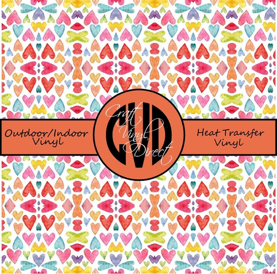 Heart Patterned Vinyl // Patterned / Printed Vinyl // Outdoor and Heat Transfer Vinyl // Pattern 729