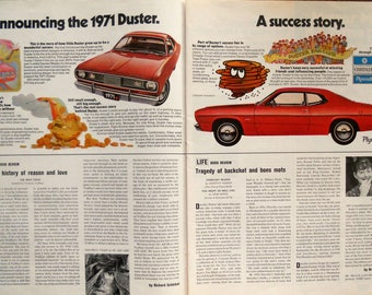1971 Plymouth Duster ad.  1971 Plymouth Duster.  Vintage Plymouth Duster ad.  Red Plymouth Duster.  Life Magazine. October 16, 1970.