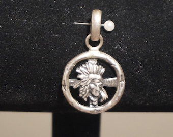 Large Indian chief pendant sterling silver country and western native American, cross and 8 symbols