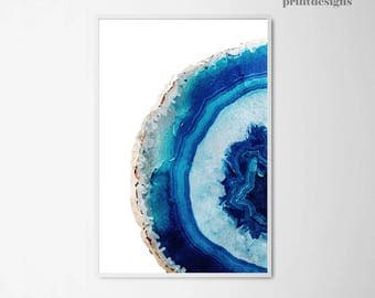 Agate Printable Poster, Watercolor Agate Print, Agate Art, Decorative Wall Art, Blue Agate Poster, Geode Art Print, Gemstone Mineral Art