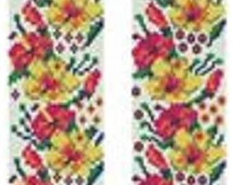 Beading Peyote (Even count)-Loom Pattern Bracelet «Meadow flowers » Beading Tutorial Instant Download
