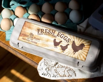 Custom Egg Carton Labels - Vintage Style - Rooster at Sunrise - Old-Fashioned Customized Egg Carton Label - Full Dozen Carton Labels