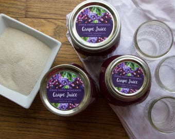 Customized Label - Grape Jelly, Grape Juice Watercolor Style Canning Jar Label - Wide Mouth & Regular Mouth - Watercolor Grapes