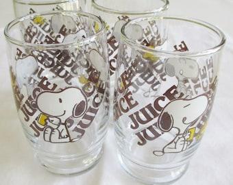 Set of 4 Snoopy Juice Glasses, Peanuts Juice Glasses, Juice Glasses