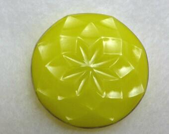 Czech glass button - yellow - 27mm