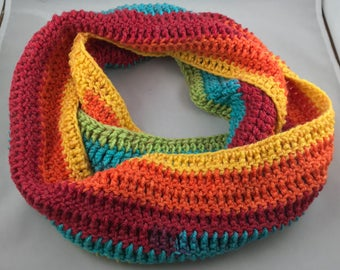 Rainbow Striped Infinity Scarf Handmade Crocheted