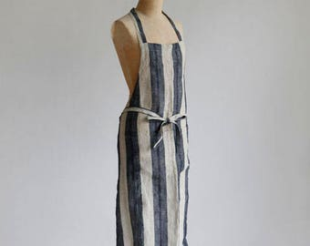 Classic apron – linen wide stripe chocolate or navy