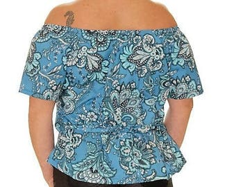 Novelty. Top woman bare shoulder blue flowered Top neckline Carmen spring was