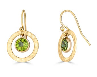 Peridot Earrings 14K Gold Filled, Peridot Earrings Dangle, Minimalist Gold Gemstone Earrings, Peridot Jewelry, August Birthstone,Sada Jewels