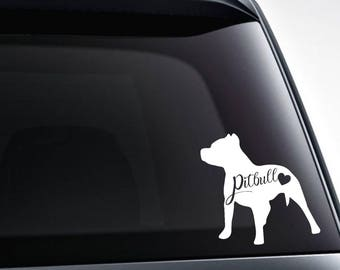 Pitbull heart vinyl decal sticker / car windows, tumblers, laptop decals