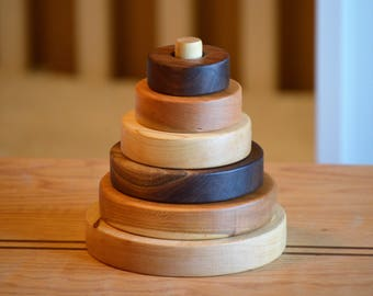 Organic Wooden Stacking Rings Toy - wood toy - Wooden Shapes Stacking Toy - Ring Stacker - Montessori - waldorf