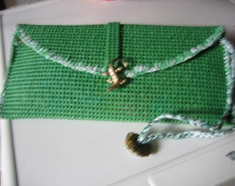 Large green mottled green/white recycled rubber, handmade clutch