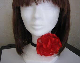 Choker, black necklace, cancan, tango, removable red hair clip organza [a] tricoplastoc flower brooch