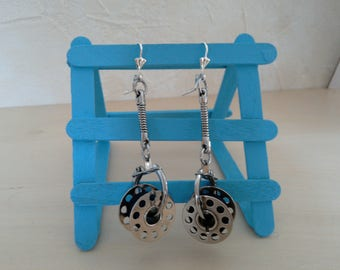 Earrings sleepers silver, sewing machine, one bobbin, upcycling