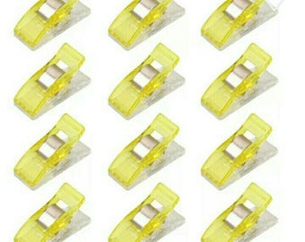 Set of 50 clips plastic yellow fabric