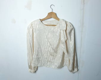 1970s vintage white patterned blouse top with pearl details on one shoulder - Seventies Smart Elegant Retro